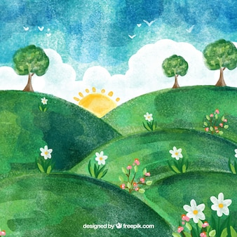 Hilly watercolor spring landscape