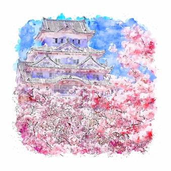 Замок химэдзи япония акварельный эскиз рисованной иллюстрации