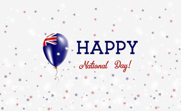 Himi建国記念日愛国ポスター。ハード島とマクドナルド島民の旗の色の空飛ぶゴム風船。バルーン、紙吹雪、星、ボケ、輝きのあるhimi建国記念日の背景。