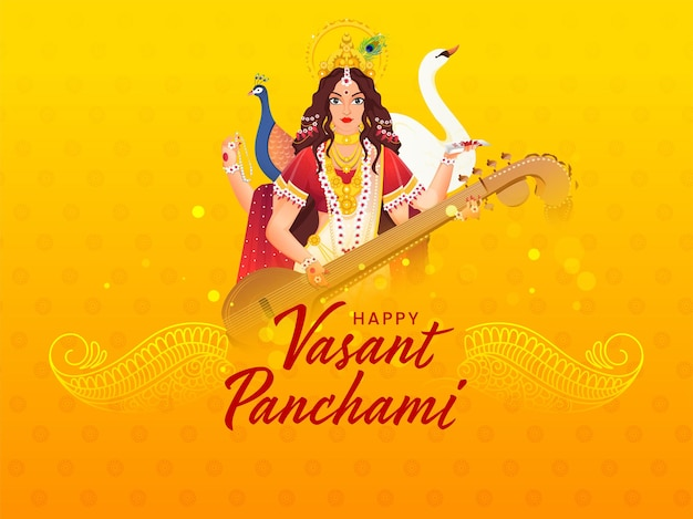 Hindi text best wishes of vasant panchami with beautiful goddess saraswati character, swan and peacock bird