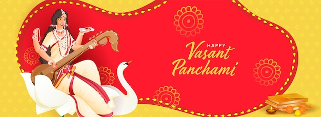 Hindi text best wishes of vasant panchami with goddess saraswati character at lotus flower, swan bird