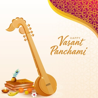 Hindi text best wishes of vasant panchami with veena instrument and religion offering