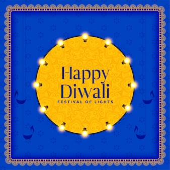 Hindu diwali festival celebration card illustration