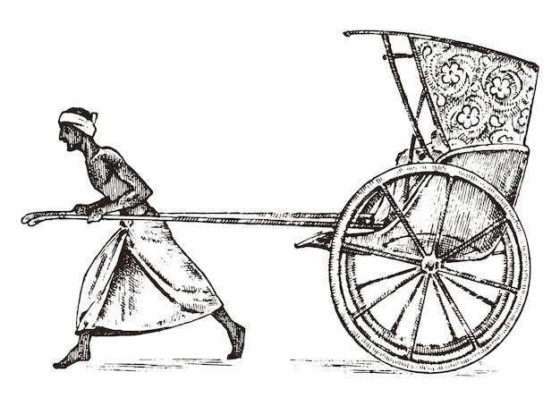 Hindu farmer with rickshaw, working with a cart for passengers in india. engraved hand drawn in old sketch, vintage style. kolkata.