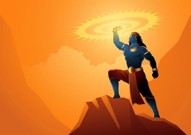ヒンドゥー教の神と女神、インド神話のイラストシリーズ、スダルシャナを保持しているクリシュナ卿