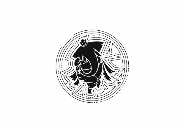 ヒンドゥー教の神ガネーシャ-象。線画で描かれたイラスト。