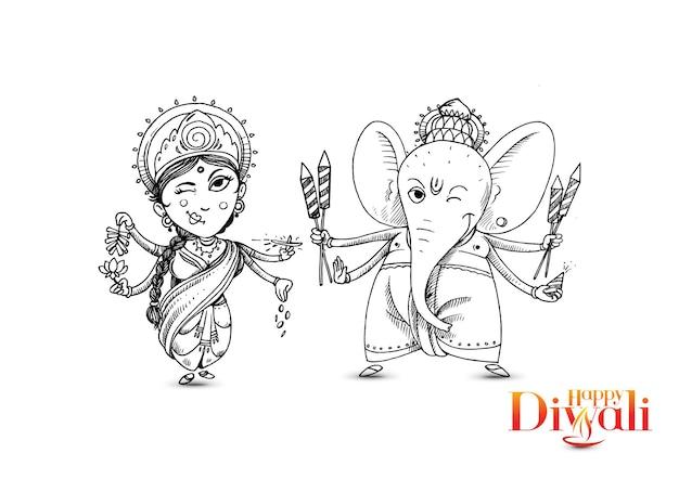 ディワリ祭でのヒンドゥー教の神ラクシュミガネーシュ。