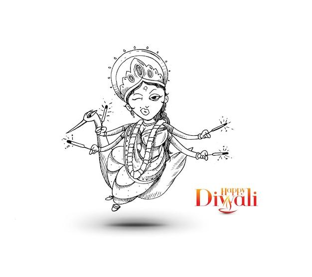 ハッピーディワリ祭のテキストとヒンドゥー教の神ラクシュミ。