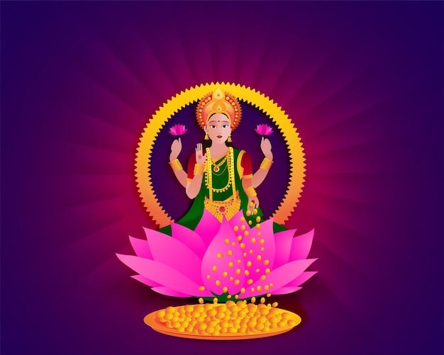 Hindu goddess lakshmi on lotus flower.