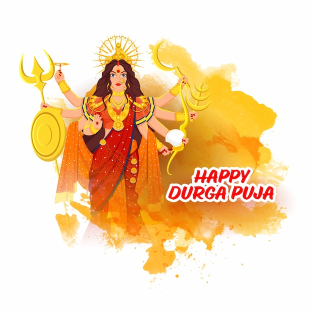 Hindu mythology goddess durga maa illustration