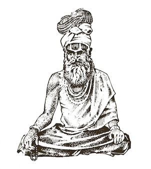 Hindu in national dress. indian spiritual monk meditating and landmark or architecture