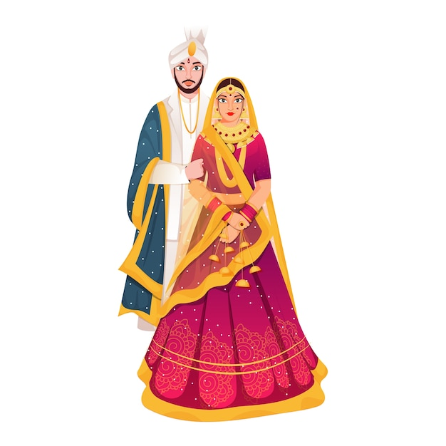 Hindu newly wed couple illustration