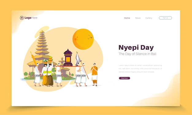 Hindu religious ceremonial parade illustration on landing page
