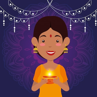 Hindu woman with candle and lights hanging