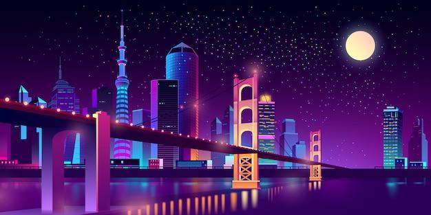 Навесной мост в мегаполисе на реке