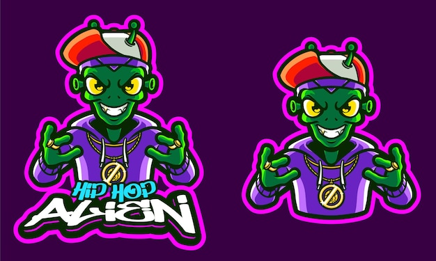Шаблон логотипа hip hop alien illustration