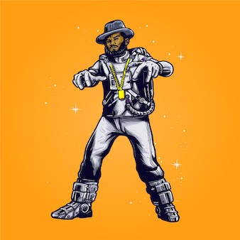 Hip hop astronaut with cowboy hat illustration