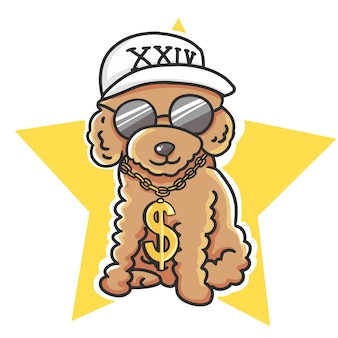 Hip hop cute poodle dog wearing white cap, black glasses and rapper chain cartoon hand drawn illustration.