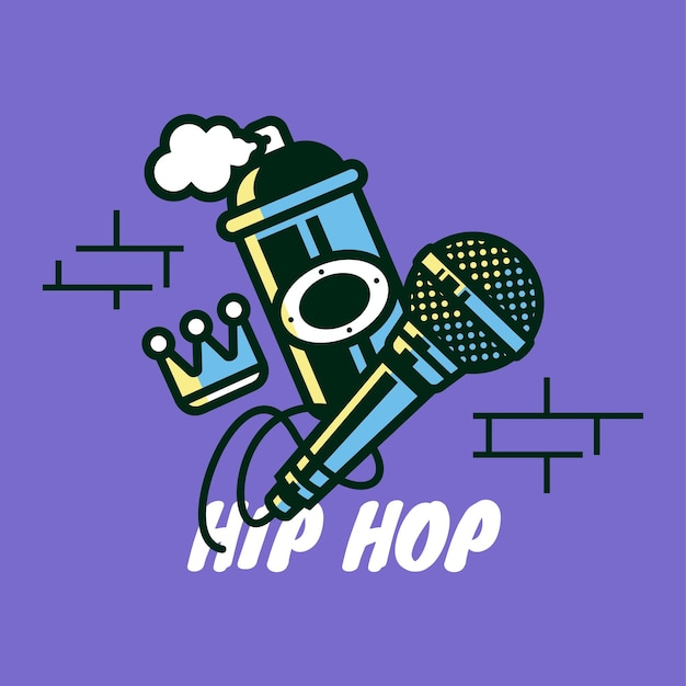 Hip hop icon with microphone spray can and crown hip hop vector illustration