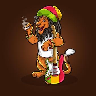Лев в стиле хип-хоп с травкой на гитаре