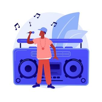 힙합 음악 추상적 인 개념 벡터 일러스트입니다. rap 음악 수업, 온라인 공연 예약, 힙합 파티, 음악 녹음 스튜디오, 사운드 마스터 링, 프로모션 비디오 제작 추상 은유.