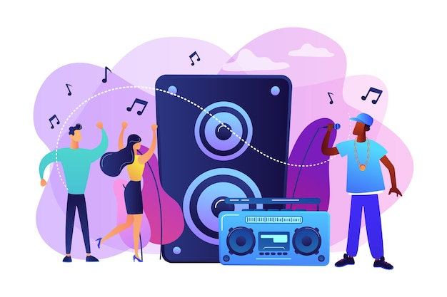 음악 스피커에서 마이크와 콘서트에서 춤추는 작은 사람들이있는 힙합 가수. 힙합 음악, 힙합 파티, rap 음악 수업 개념.