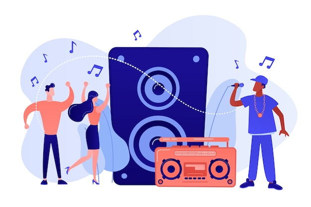 Hip hop singer with microphone at music speaker and tiny people dancing at concert. hip hop music, hip hop party, rap music classes concept. pinkish coral bluevector isolated illustration