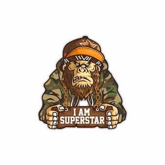 手にボードを持ったヒップホップのスーパースターキャラクターモンキーコングは、軍のフーディスナップバックとバンダナを使用しています