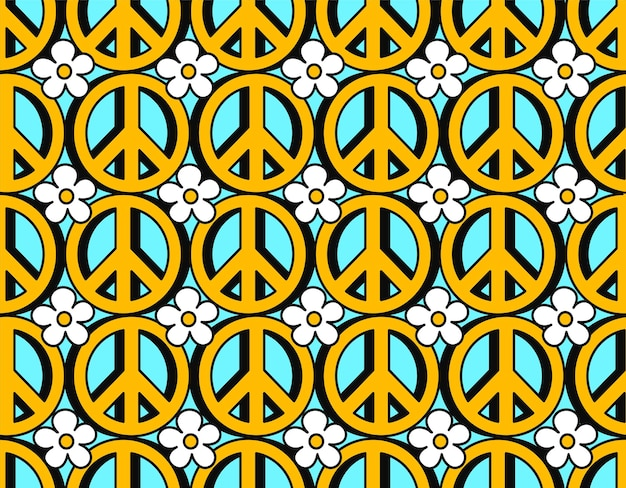 Hippie 70s pacifist symbol and flowers seamless pattern. vector hand drawn line doodle cartoon illustration wallpaper. trippy 70s lsd print,60s pacific circle,hippie symbol seamless pattern concept