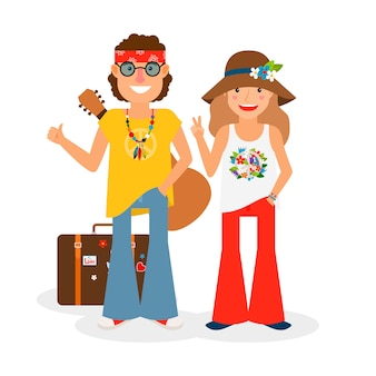Hippie couple hitchhiking with guitar and suitcase