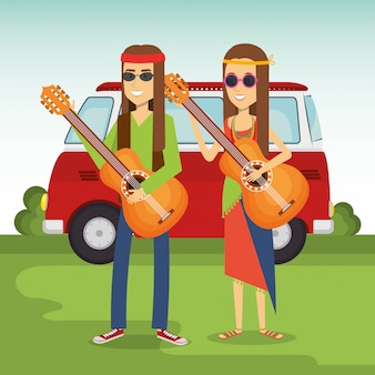 Hippie couple playing guitars