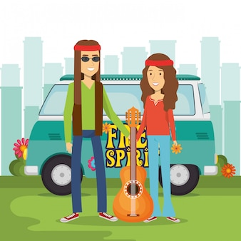 Hippie couple with a guitar and a van