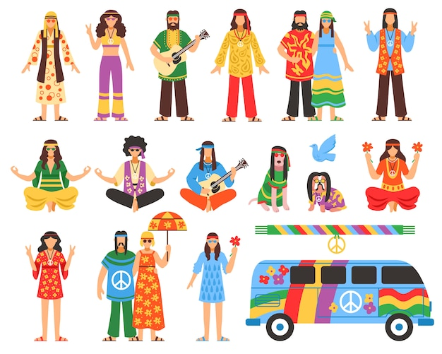 Hippie decorative icons set