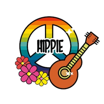 Hippie emblem with flowers and musical guitar instrument