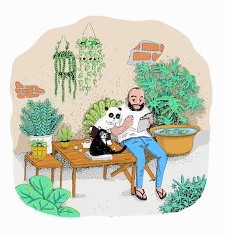 ヒッピーは彼の庭を楽しんでいます