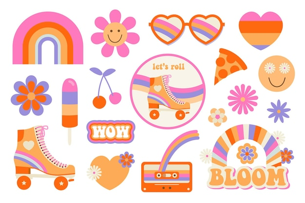 Hippie flat icons in 70s style