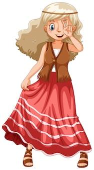 Девушка-хиппи в красной юбке