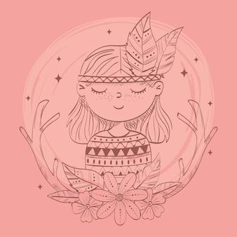 花のアレンジメントを持つヒッピーの女の子