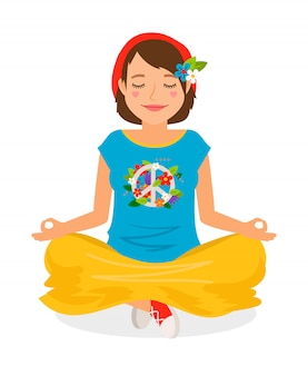 Hippie girl yoga meditation vector illustration on white
