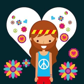 Hippie man character in love heart flowers