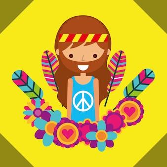 Человек хиппи свободный дух в любви сердце цветы