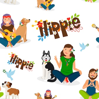 Hippie people and dog seamless pattern