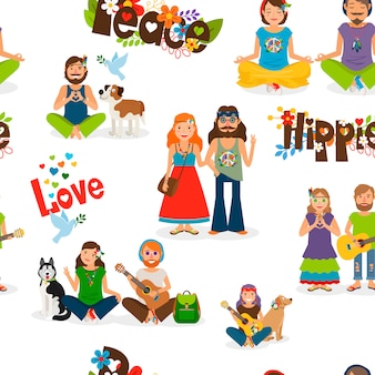 Hippie people seamless pattern