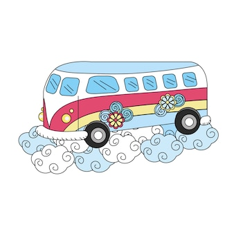 Hippie van with flowers and clouds