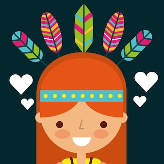 Hippie woman cartoon feathers retro