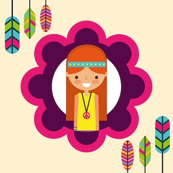 Hippie woman feathers bohemian free spirit