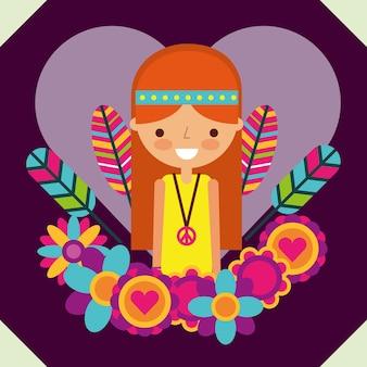 Hippie woman free spirit in love heart flowers