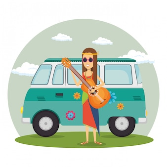 Hippie woman with guitar and a van