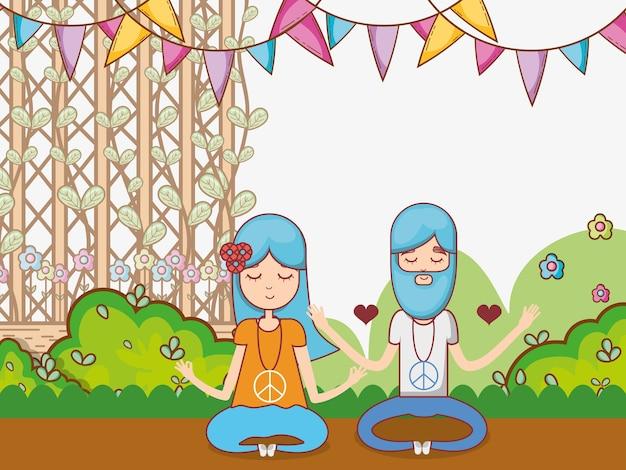 Hippies couple at garden