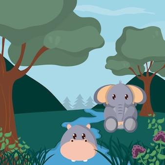 숲 귀여운 동물 만화에서 하마와 아기 코끼리
